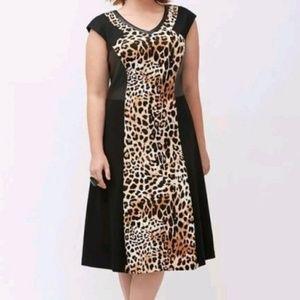 Lane Bryant Dress Faux Leather Animal Print 26